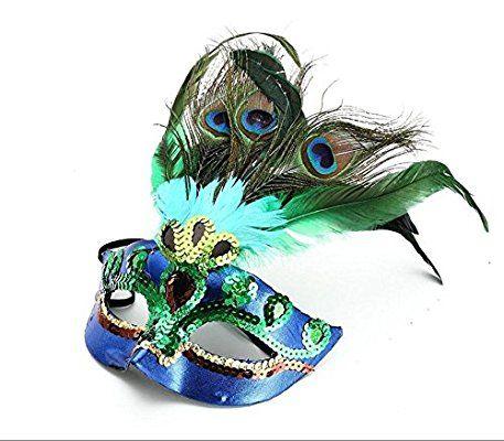 PRIMI Masquerade Kostüm Party Halloween Cosplay Maske Pfau Federn ...