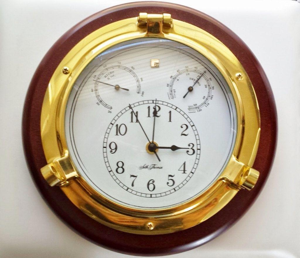 vintage brass wood seth thomas nautical porthole wall on wall clocks id=91250