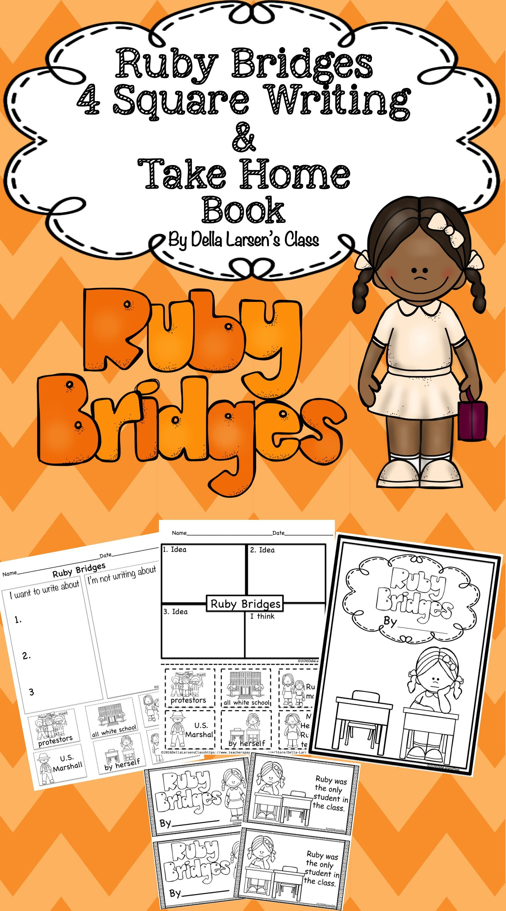 worksheet Ruby Bridges Worksheets For Second Grade ruby bridges 4 square writing take home book graphic organizers book
