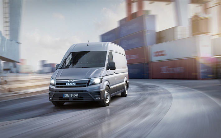 Download Wallpapers Man Tge 2018 Commercial Vehicles Minivans Seaport Containers Freight Cargo Delivery Man Besthqwallpapers Com Van Commercial Vehicle Mini Van