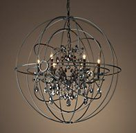 Foucault S Twin Orb Smoke Crystal Chandelier 41 Crystal