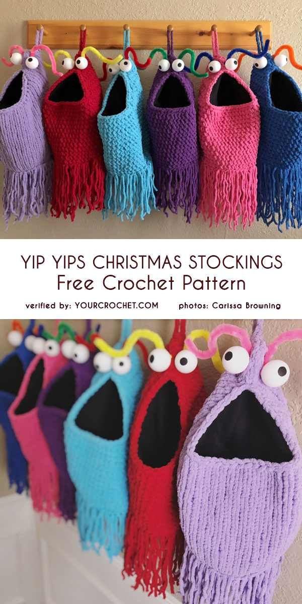 Yip Yips Christmas Stockings Free Crochet Pattern Schnelle