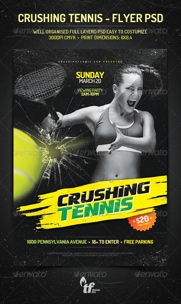 Crushing Tennis - Flyer PSD Template Psd templates, Creative - tennis flyers templates free