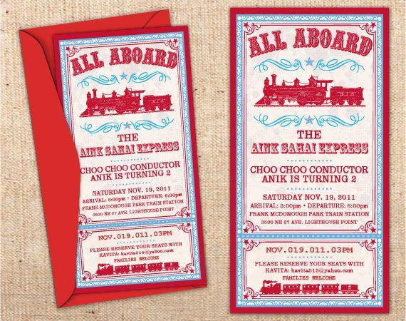 Vintage train ticket customizable party invitation invitations vintage train ticket customizable party invitation filmwisefo