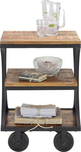 Beistelltisch aus Holz und Metall - die rollende Ablagefläche mit Stil