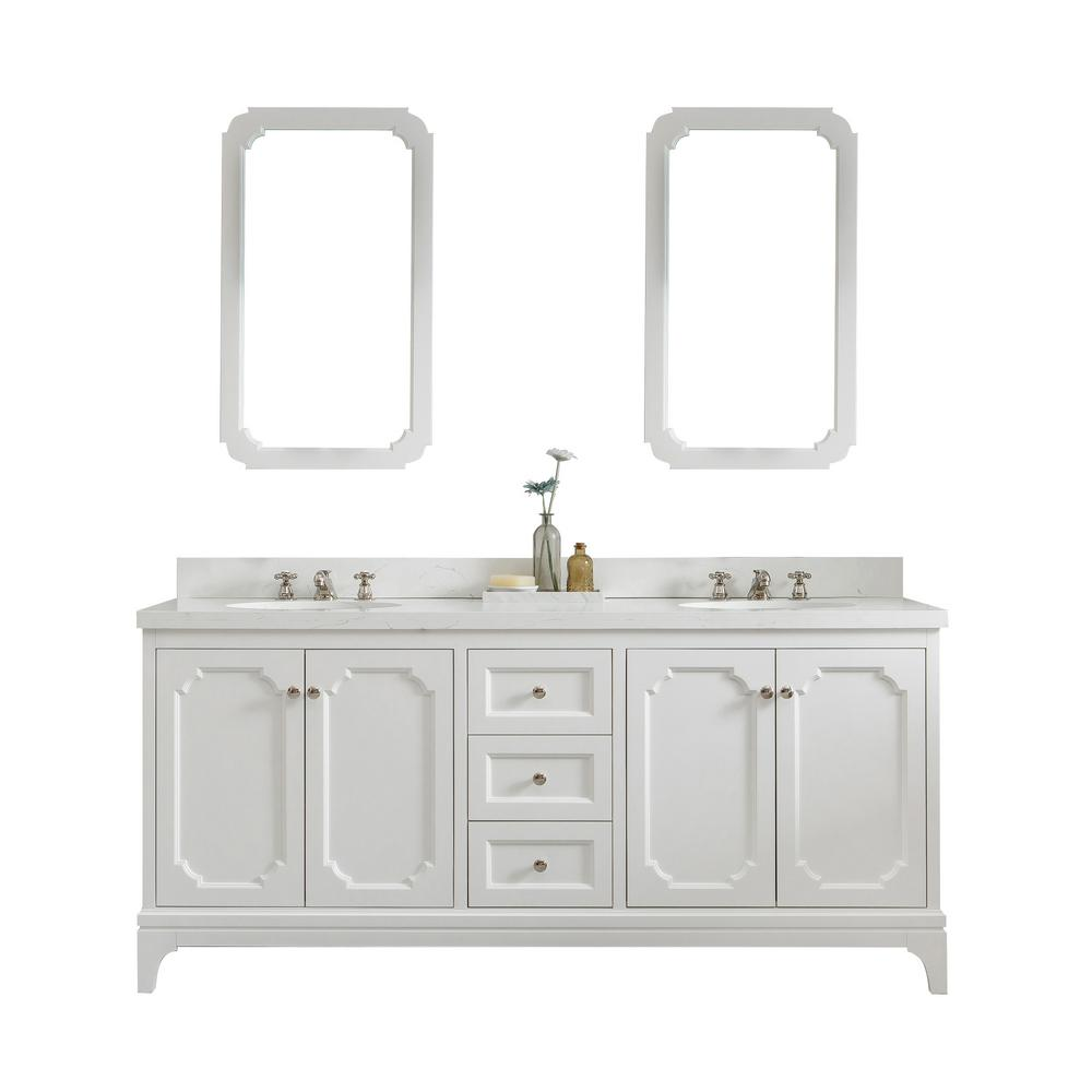 Water Creation Queen 72 In Pure White With Quartz Carrara Vanity