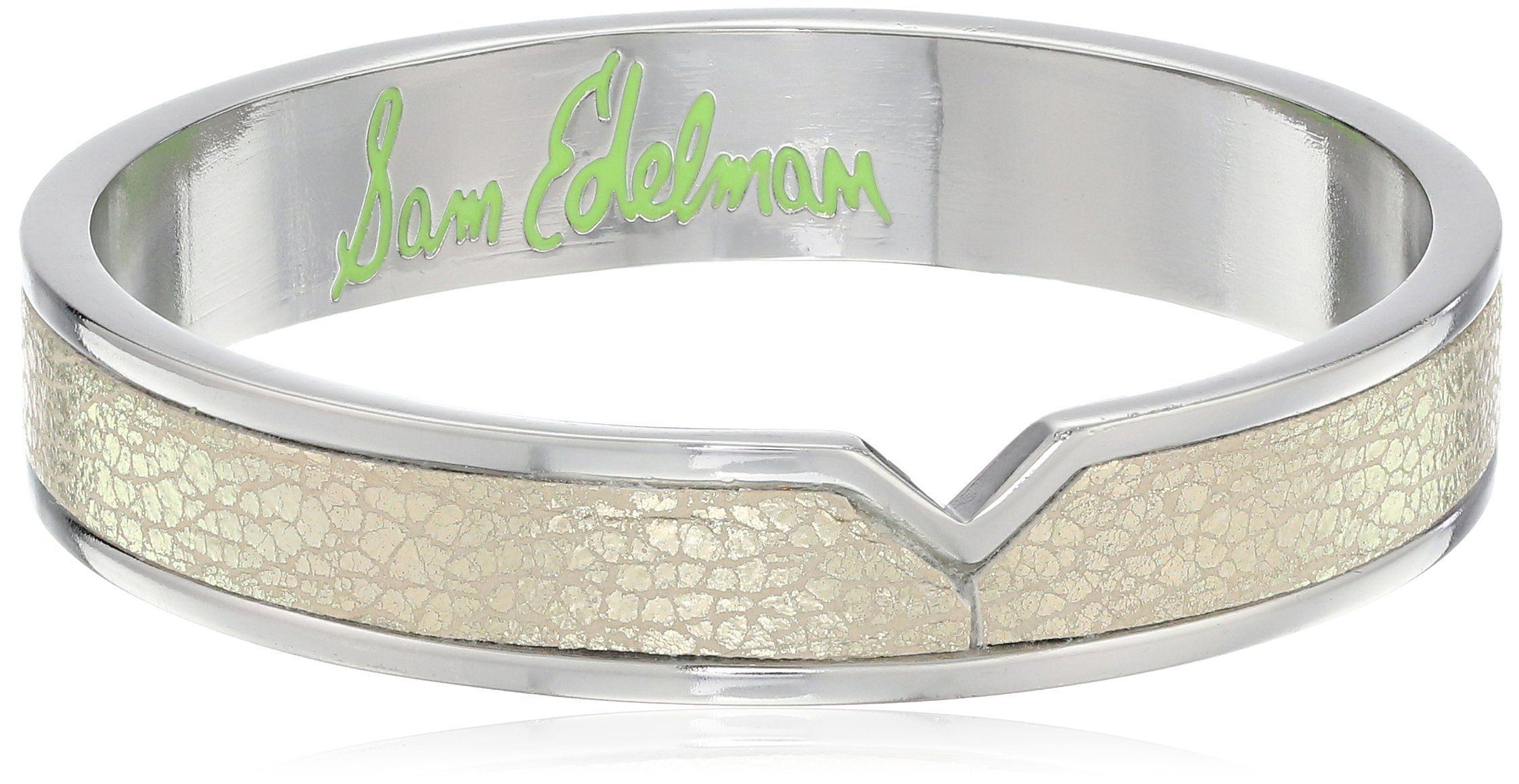 Sam Edelman Leather V Two Tone Bangle Bracelet