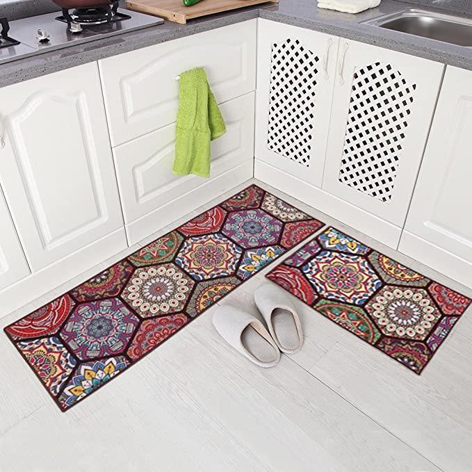 amazon com carvapet 2 piece non slip kitchen mat runner rug set doormat vintage design boho on boho chic kitchen rugs id=50281
