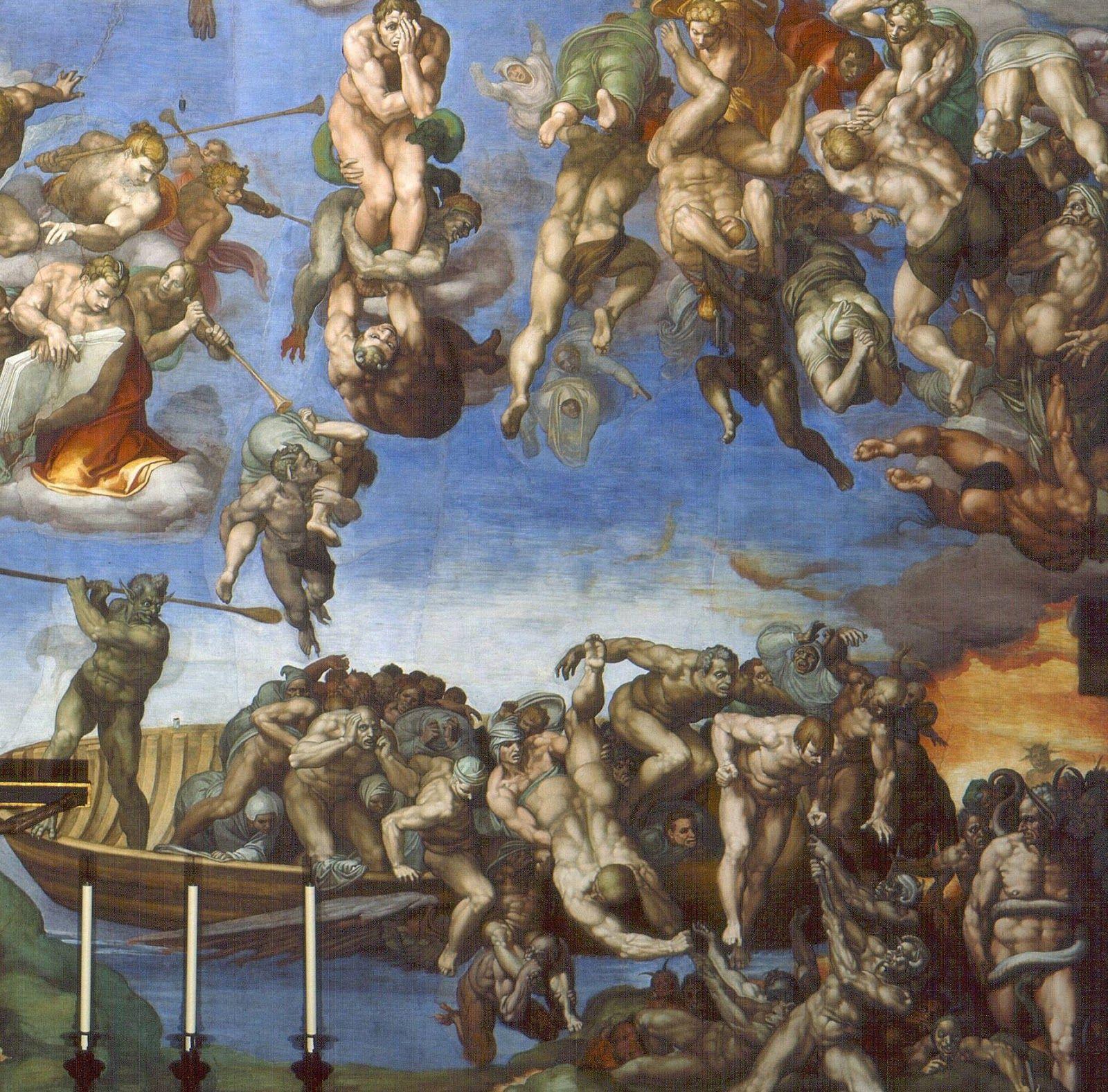 """MIGUEL ANGEL: """"El Juicio Final"""", 1537-41.Una muchedumbre desnuda de más de  cuatrocientas personas, hombres y mujeres ocupan toda la pared de la  Capilla ..."""