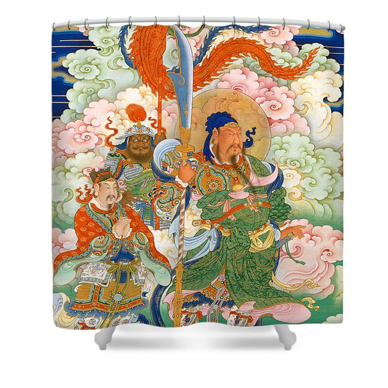 Emperor Guan Hanging Scroll Shower Curtain For Sale By Chinese