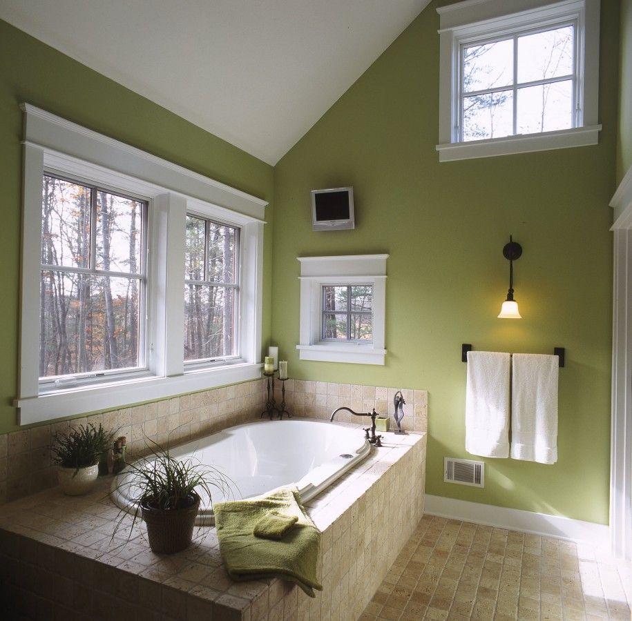 Bathroom Cozy Green Bathrooms With Beige Floor Tile And Clerestory Window Also Green Walls Design Plu Green Bathroom Traditional Bathroom Green Bathroom Decor