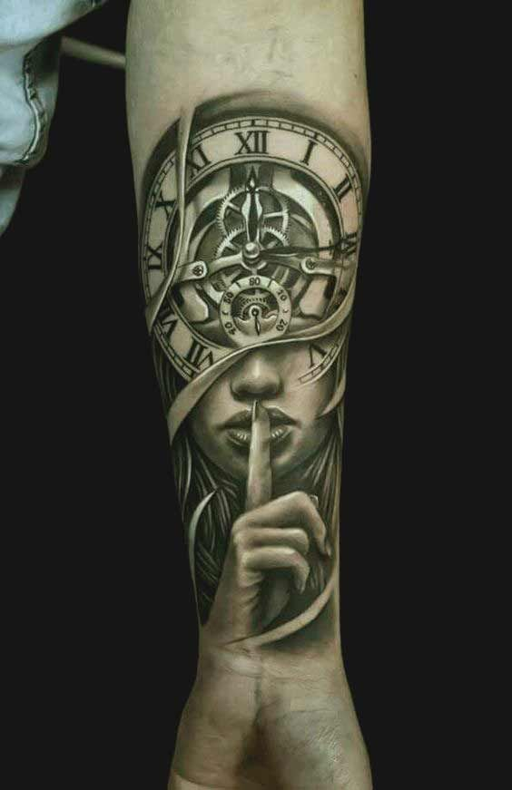 ff7f6783f0c54 Clock and girl face tattoo for forearms. Clock and girl face tattoo for  forearms 90 Coolest Forearm tattoos designs for Men and Women