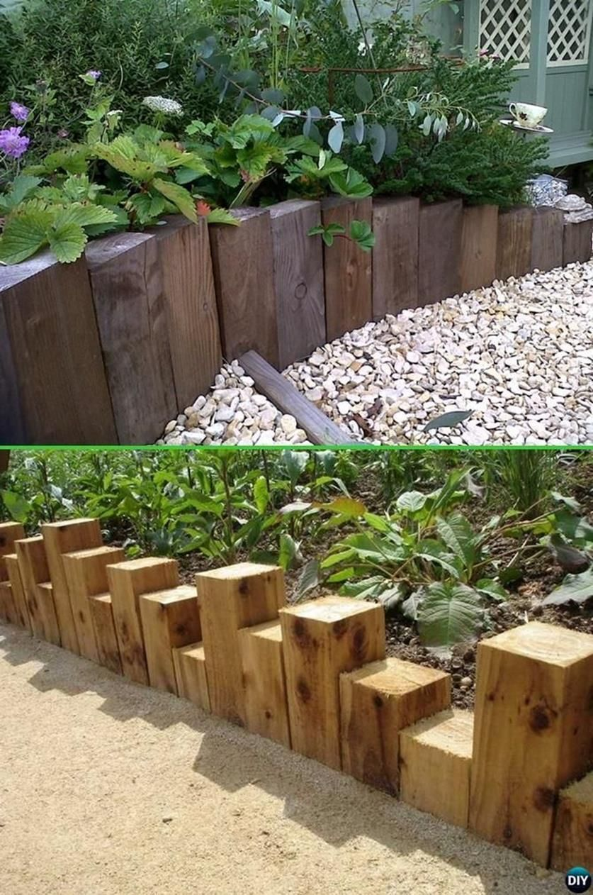 Best beautiful and cheap wood lawn edging ideas rustic