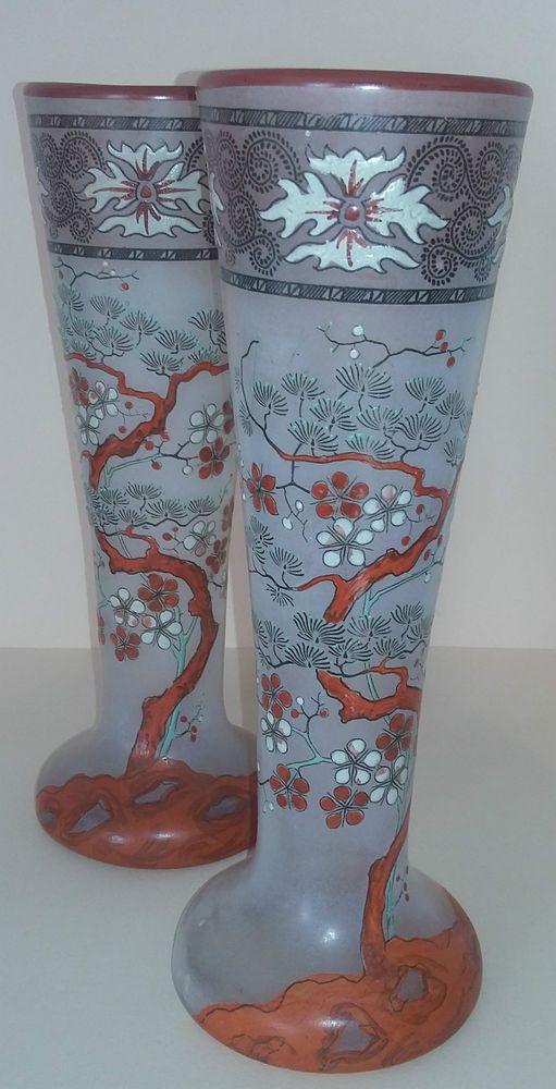 superbe paire de vases legras decor japonisant antique french enamelled vase glass. Black Bedroom Furniture Sets. Home Design Ideas