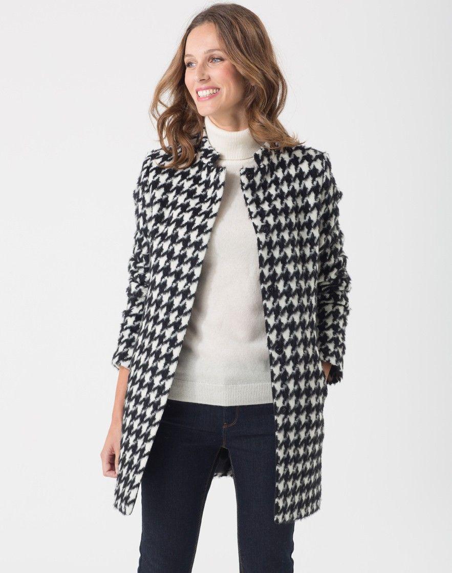 manteau pied de coq en laine m lang e oxane manteaux 1 2 style veste robe et la. Black Bedroom Furniture Sets. Home Design Ideas