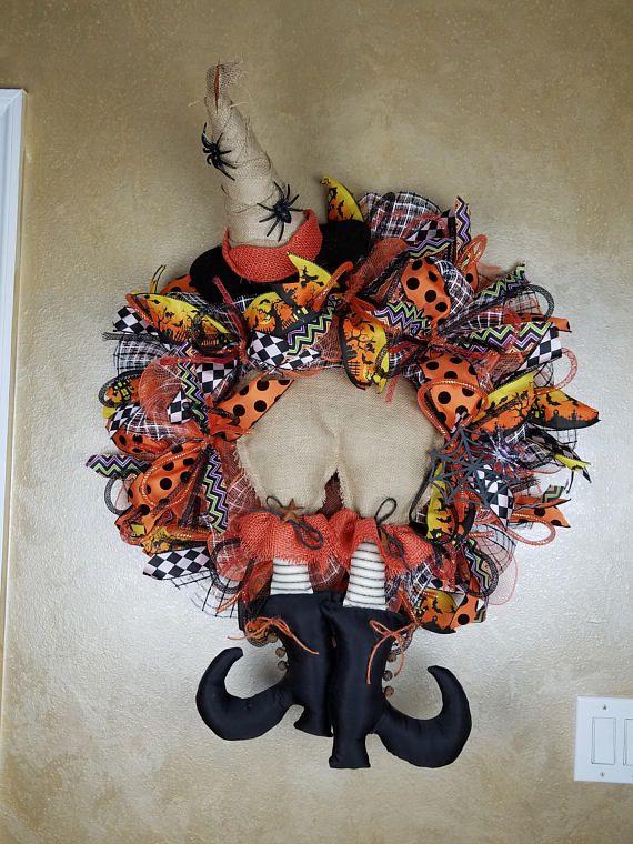 Witch Wreath, Halloween Wreath, Happy Halloween Wreath, Front Door Wreath, Halloween Decor