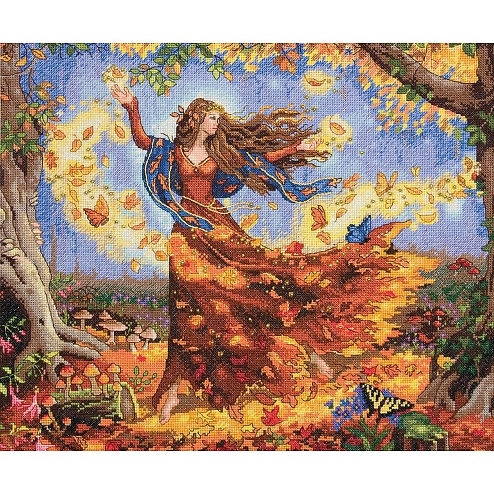 Dimensions Gold Collection Counted Cross Stitch Kit Woodland Enchantress 16 Count Dove Grey Aida 14 x 12