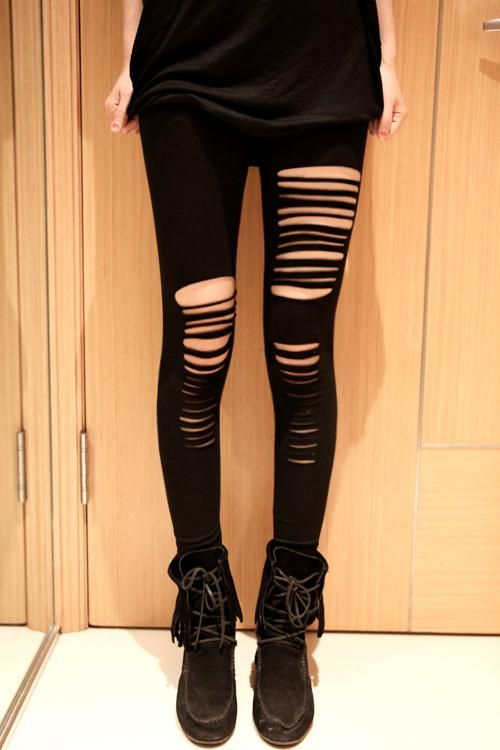 2f04090b8c299 Sexy Black Cotton Hole Slim Leggings - lilyby - Sale! Up to 75% OFF ...