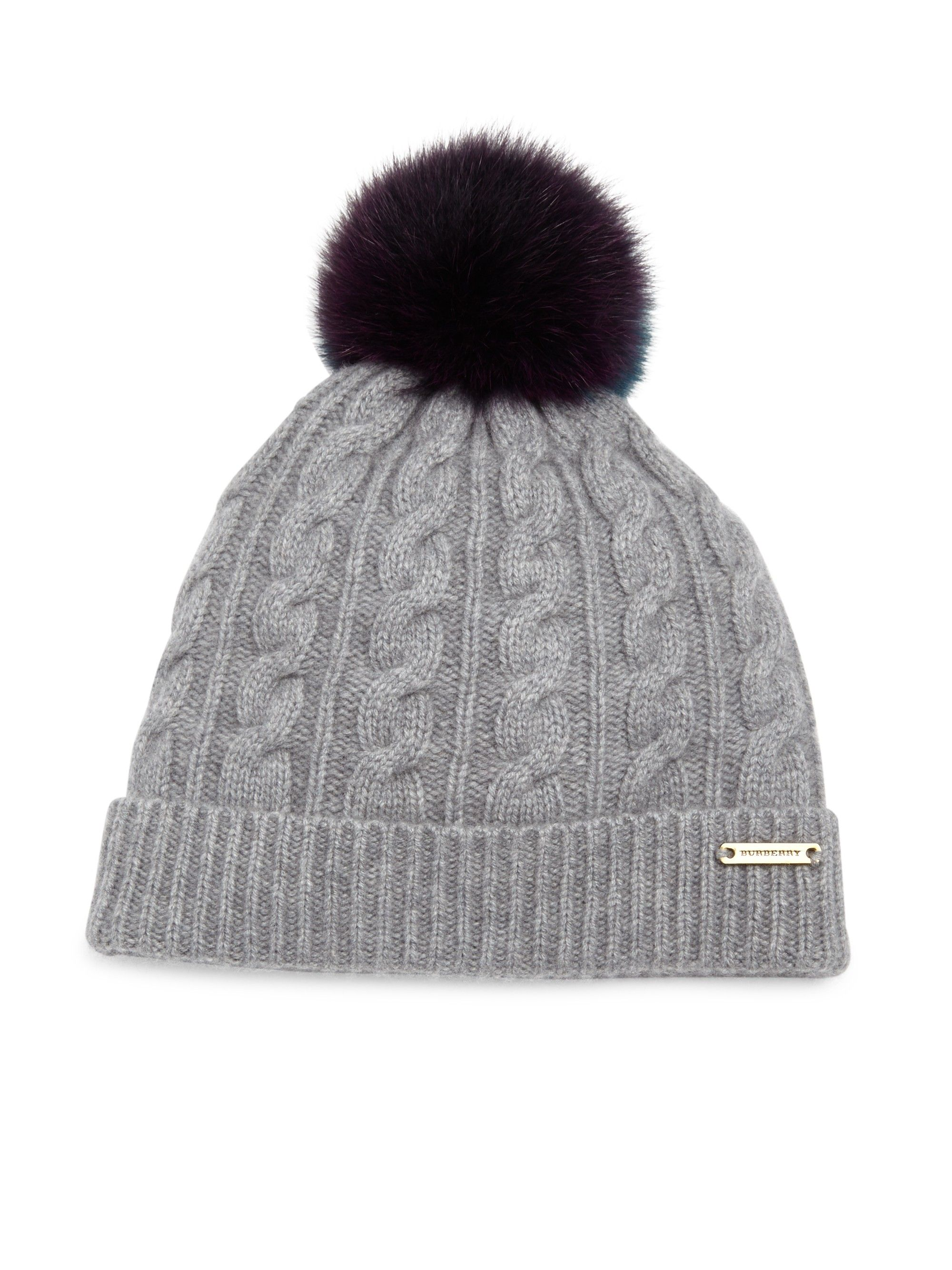 bc9519bea BURBERRY Cable-Knit Wool, Cashmere & Fox Fur Beanie. #burberry #all ...