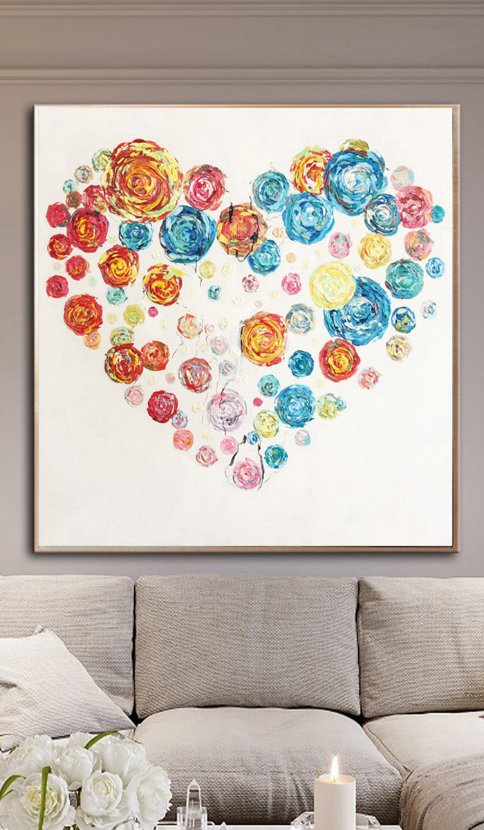 Heart Painting Canvas Love Wall Art Colorful Wall Painting Large Art