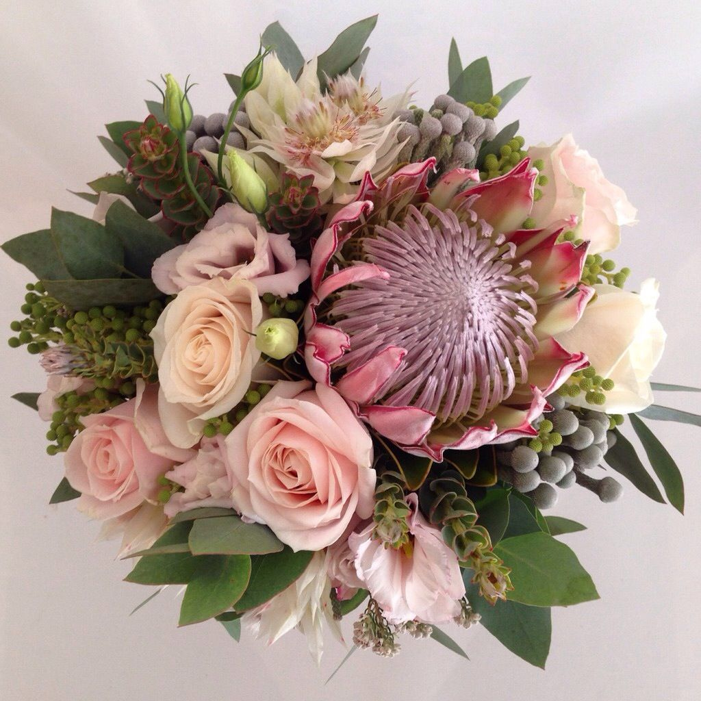South African Inspired Blush Pink Bouquet King Protea Blushing Bride Protea Roses Brunia Berries An Protea Bouquet Wildflower Wedding Wedding Flowers Roses