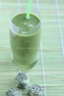 Heidis Low Carb Verden: Opskrift: Greenie med spinat, squash, persille, ingefær, lime - og lidt frugt