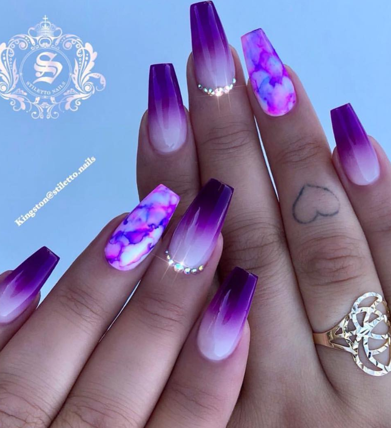 Favored Coffin Nails Design In 2019 Purple Nail Designs Purple Acrylic Nails Matte Purple Nails