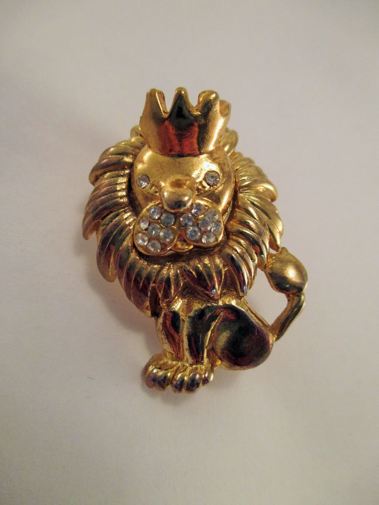 Vintage Lion with Crown King of Jungle Pin Brooch Rhinestones Gold Plate #Unbranded