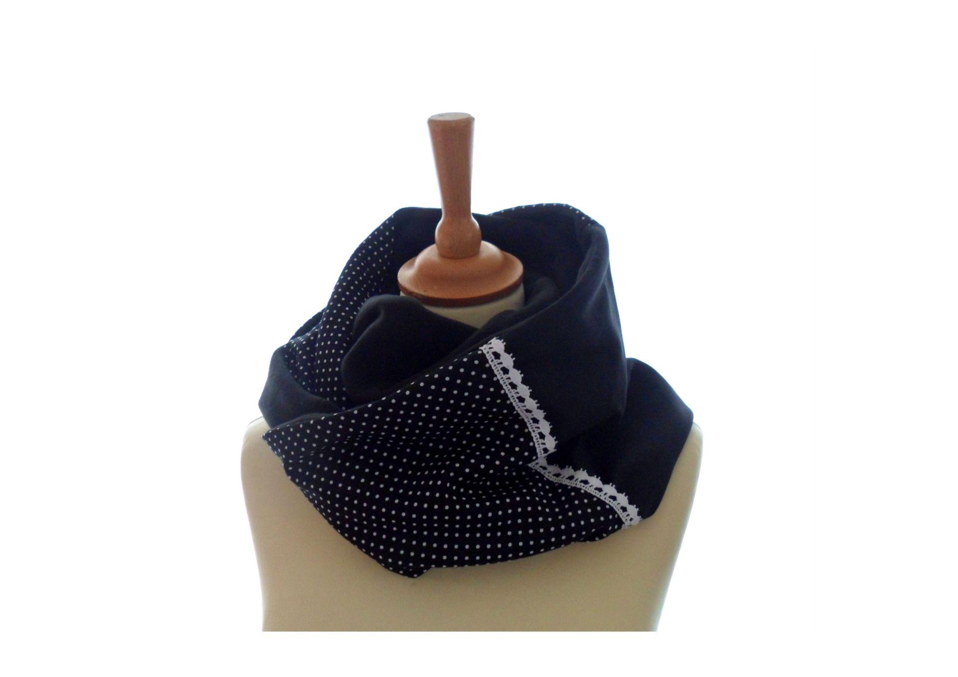 e1ad69f10aa7 écharpe Snood double loop Noir et pois blanc dentelle   Echarpe, foulard,  cravate par valierre