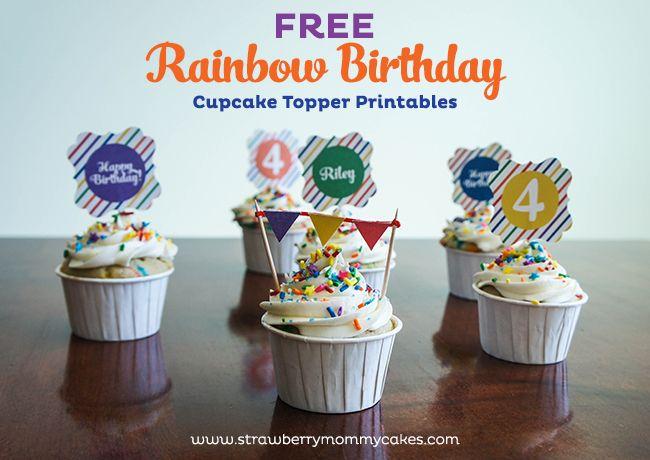 Free Rainbow Birthday Cupcake Topper Printables on www.strawberrymommycakes.com
