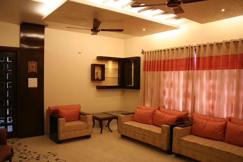 Luxury living room with curtains by asad firdosy interior - Curtain ideas for living room india ...
