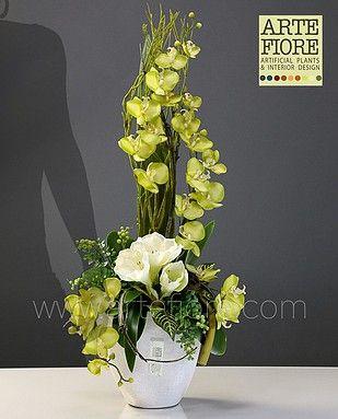 Composizione di fiori artificiali in tessuto con amarillis - Rami secchi decorativi dove comprarli ...