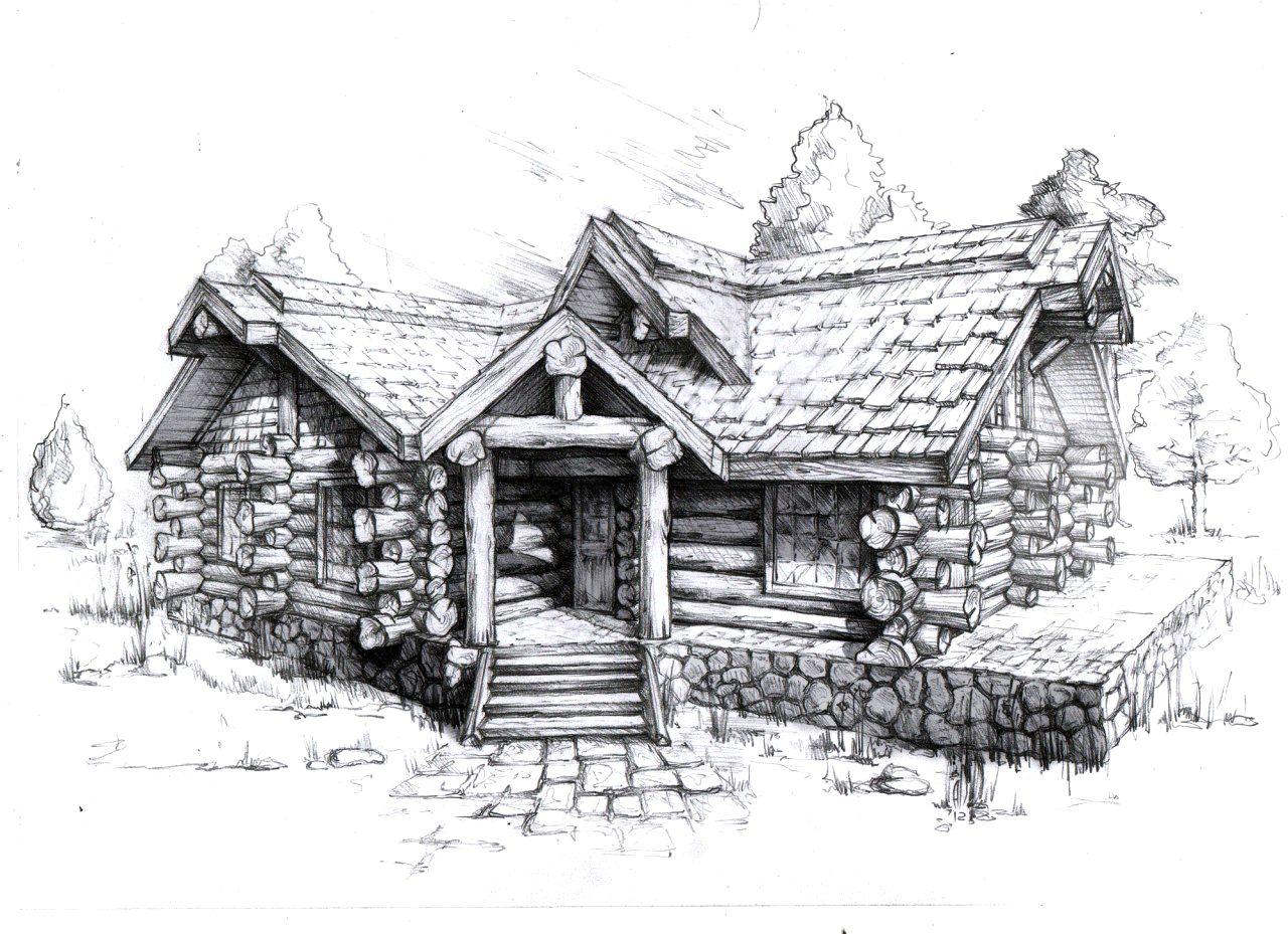 деревенский дом без гвоздей рисунок именем рамин