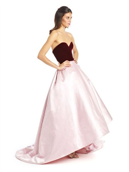 Pink Velvet Satin Bicolor Ball Gown Oscar de la Renta