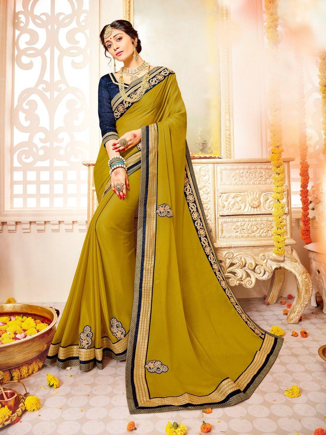 b4d5ff4e54c7b1 fancy mehndi green partywear saree with contrast blue raw silk blouse