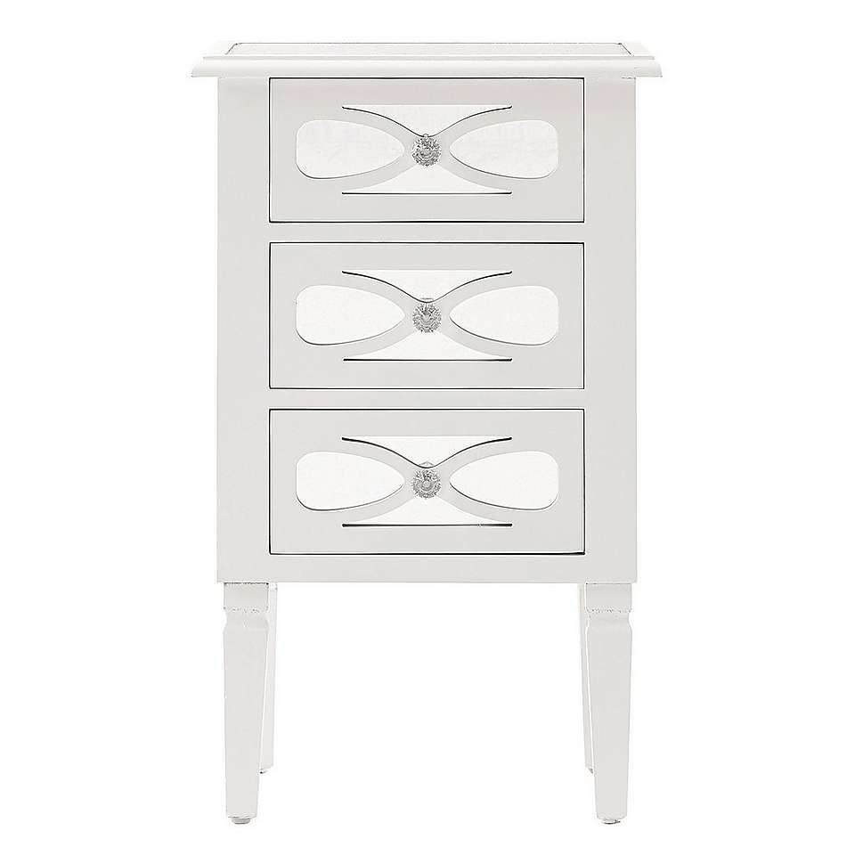 nouveau white 3 drawer bedside table dunelm new house. Black Bedroom Furniture Sets. Home Design Ideas