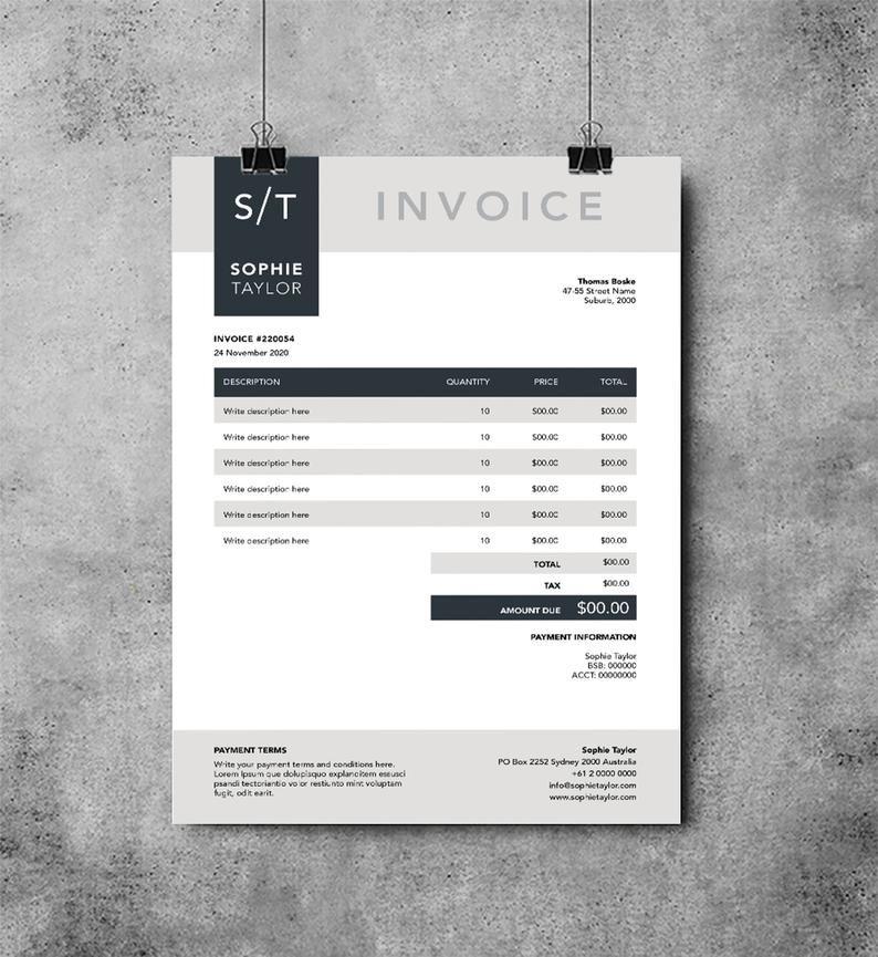Photographer Invoice Invoice Template Design Receipt Etsy Invoice Design Template Invoice Template Invoice Design
