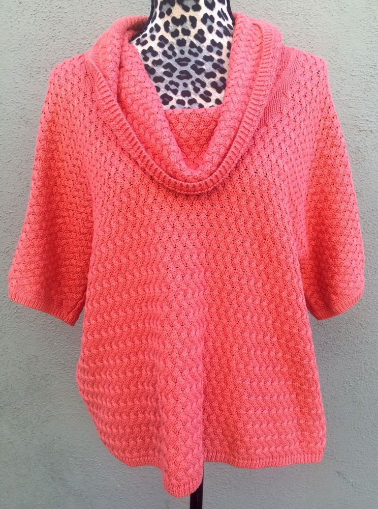 Caslon Coral Orange Cable Knit 34 Sleeve Cowl Neck Sweater Petite