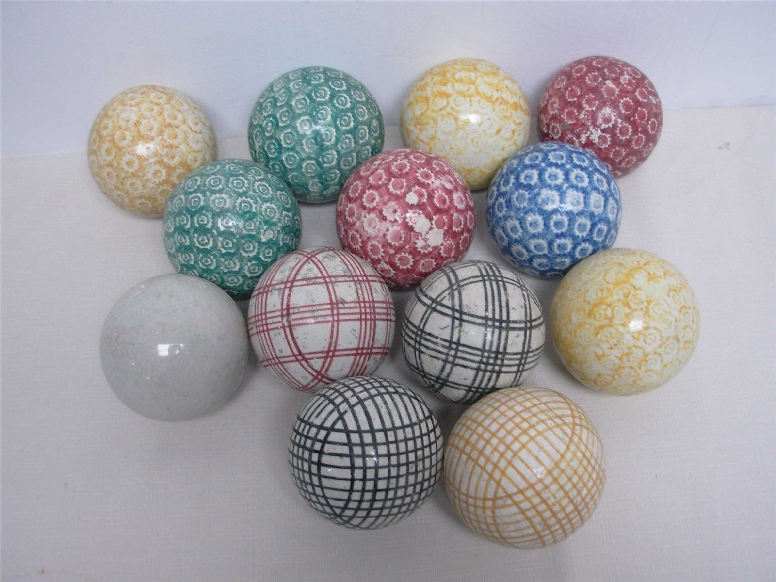 13 antique victorian scottish ceramic carpet balls ~ great ...