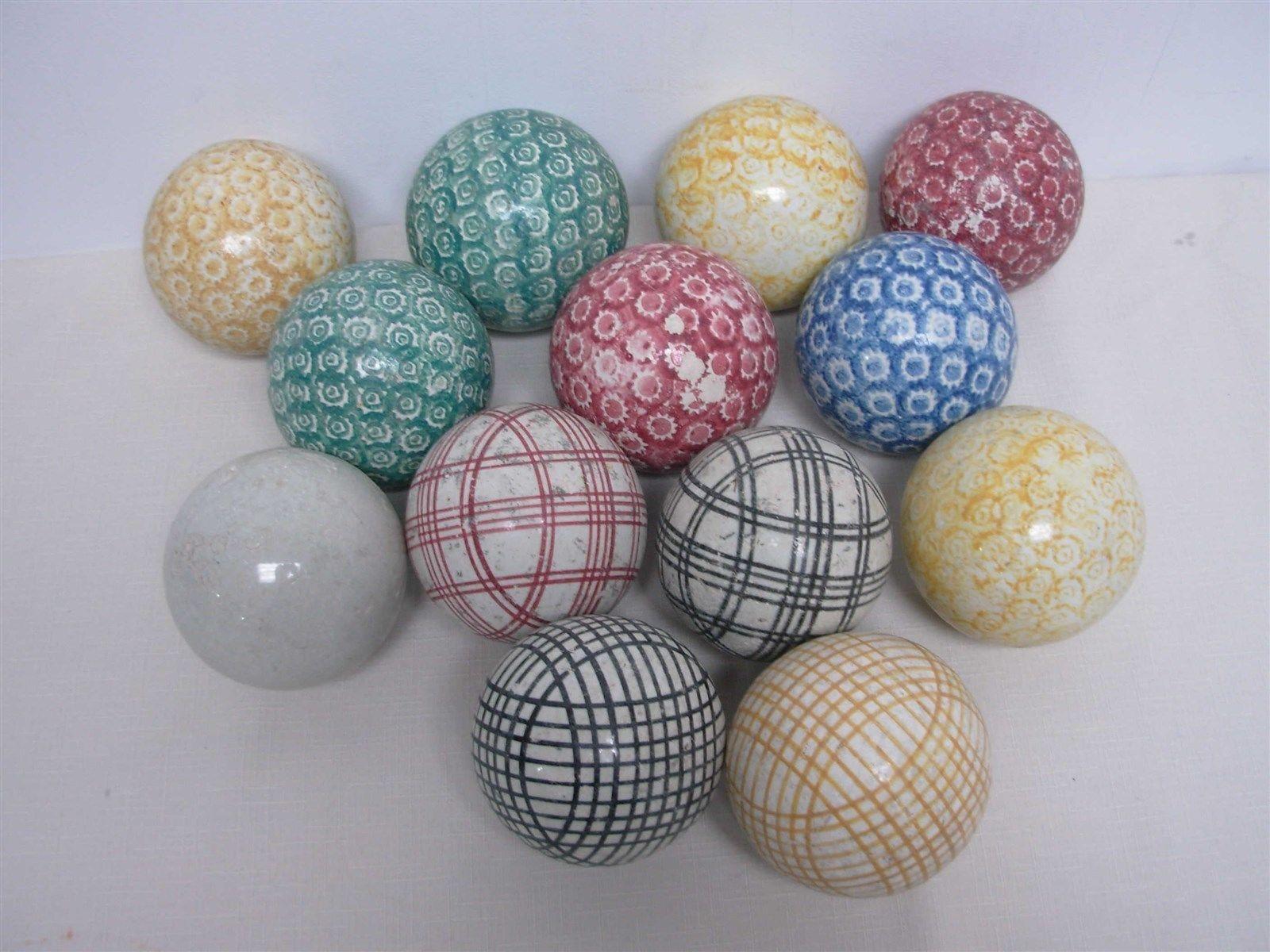 13 antique victorian scottish ceramic carpet balls ~ great ...