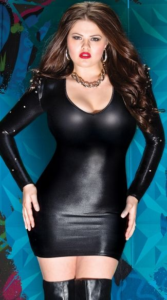A Plus Size Wet Look Long Sleeve V Neck Dress With Spiked Shoulder