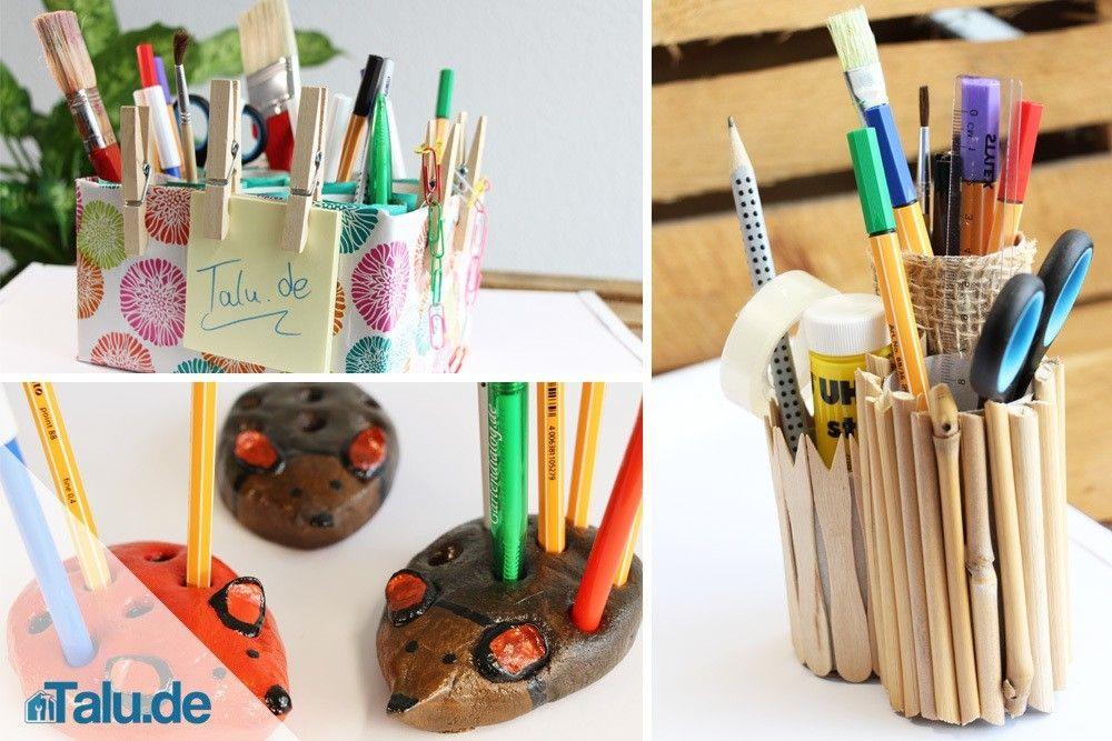 stiftehalter basteln – aus papier, holz oder salzteig | diy-ideen,