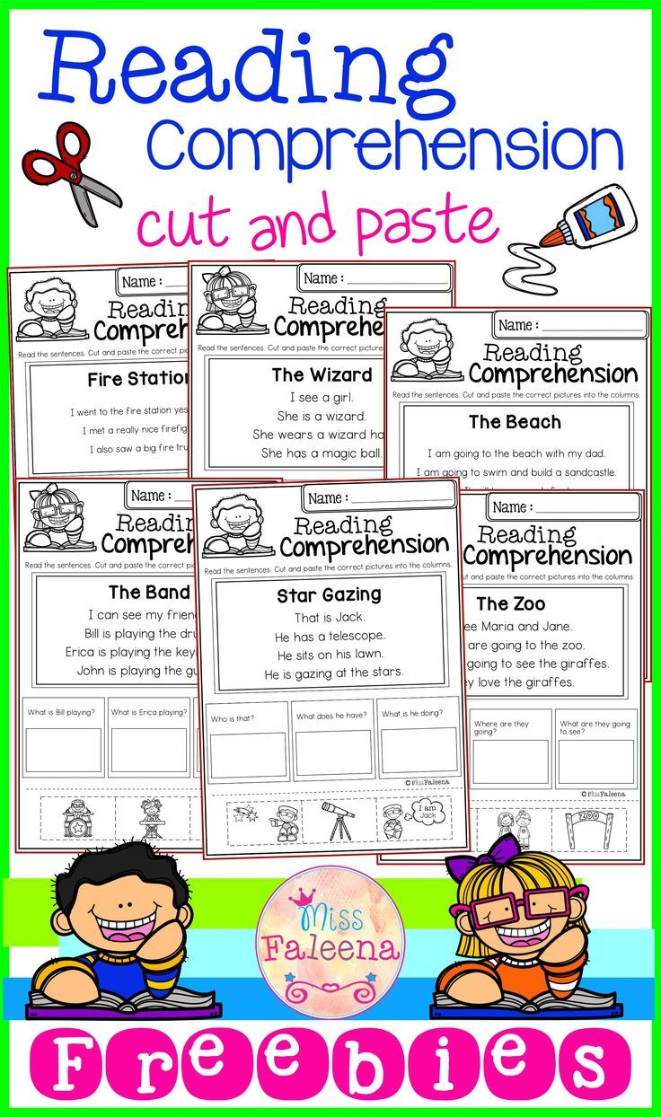 Free Reading Comprehension Cut And Paste Tpt Language Arts Lessons