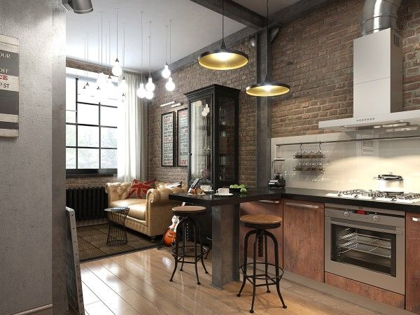 Marvelous Three Dark Colored Loft Apartments With Exposed Brick Walls