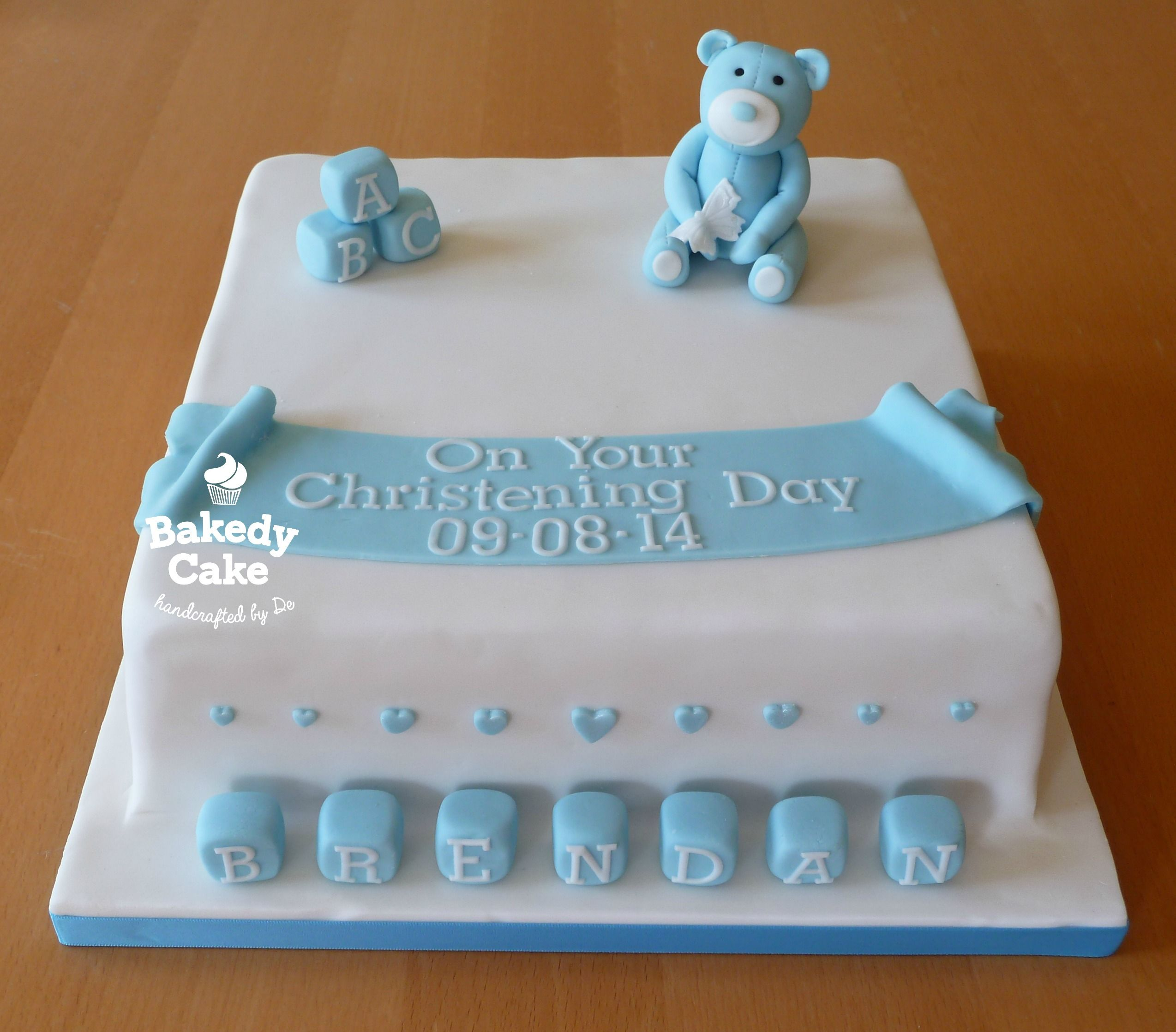 10   Square Boys Christening Cake - Blue Bear and Baby ...