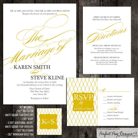 Wedding suite invitation rsvpinsert belly band printing and 7 piece wedding suite invitation rsvp insert belly band printing and envelopes included gold modern formal script price per quantity stopboris Image collections