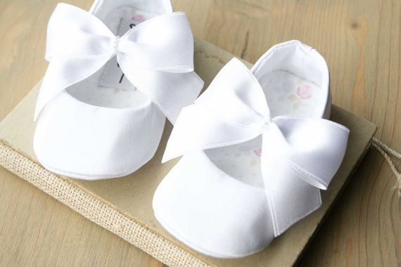 Baby's christening white  dress with beaded flower slipper shoe and head band
