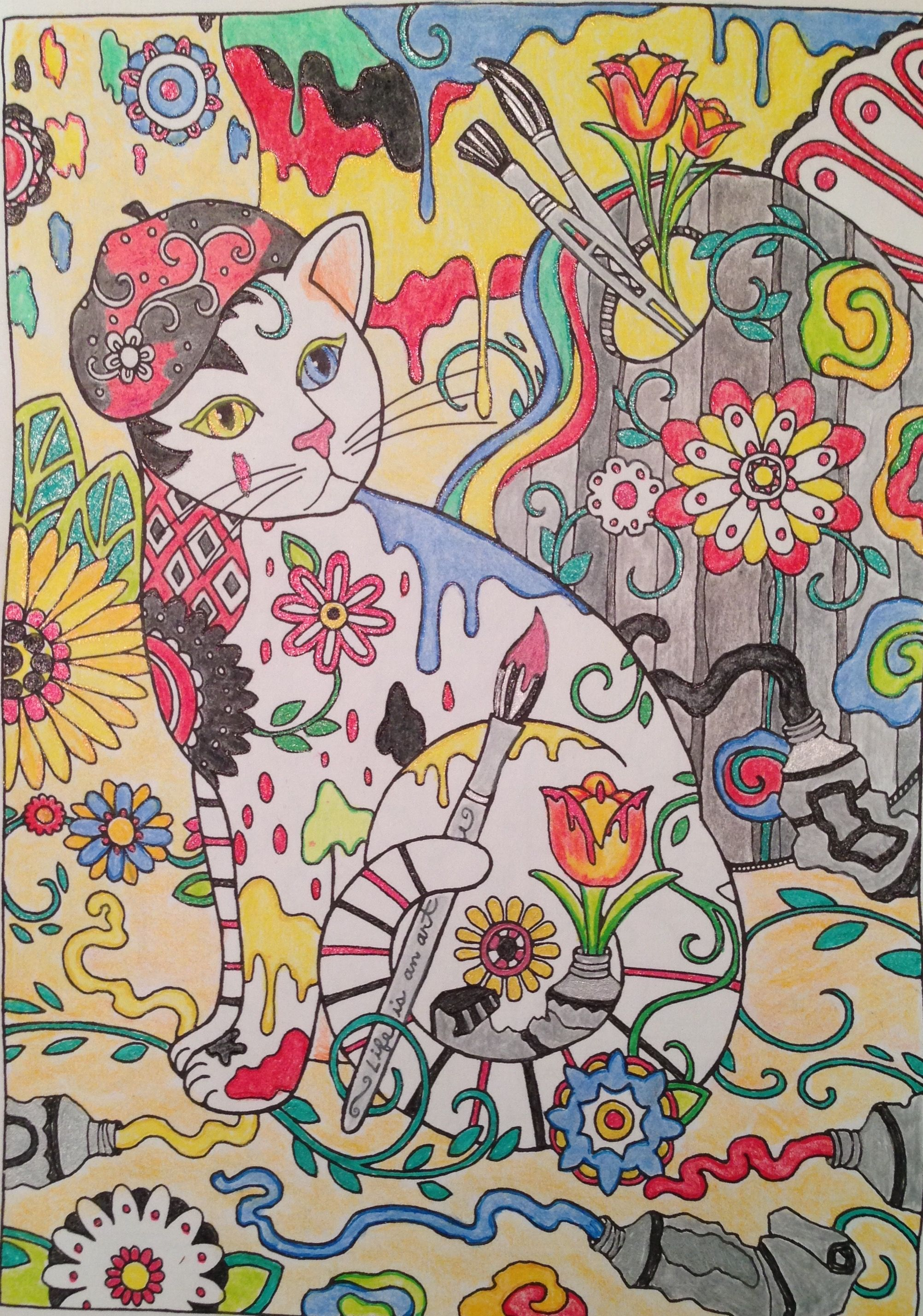 Painterly primary cat creative havenus creative cats coloring book