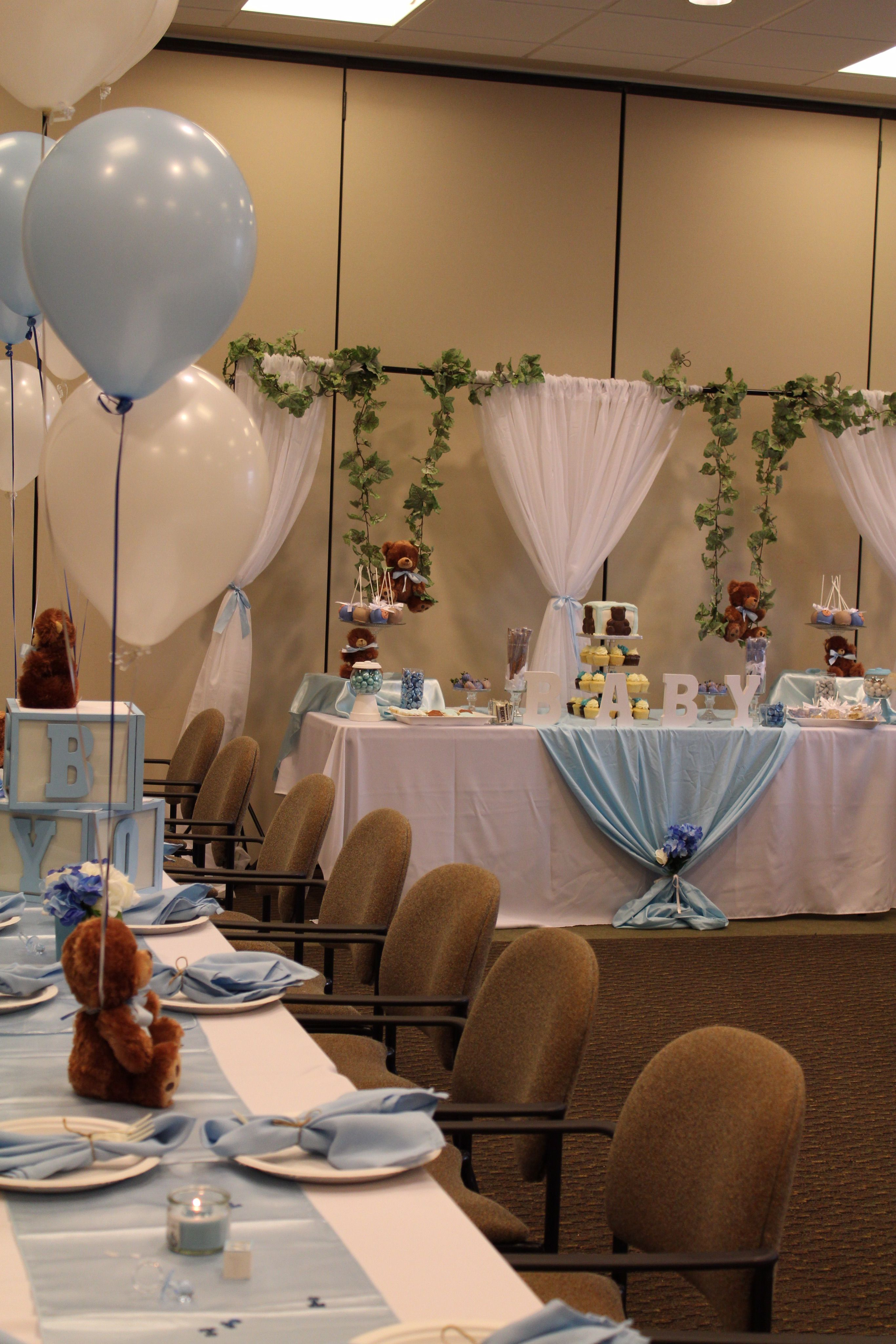 Teddy Bear Baby Shower Theme Blue White Teddy Bear Baby Shower