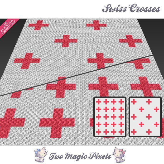 2 x Swiss Crosses c2c graph crochet pattern; instant download; baby ...